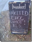 Bunker Choc Shot YUM. Photo by Nic Freeman