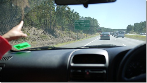 Heading north on the Gatehouse / Bruce Highway towards the Glass House Mountains