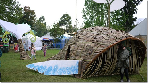 A whale made of palm fronts. Of course! Bellingen Global Carnival 2011