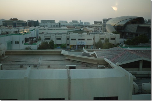 Dubai from our airport hotel room. Just on dusk.
