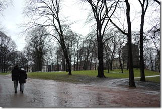 Palace gardens in winter Central Oslo Norway