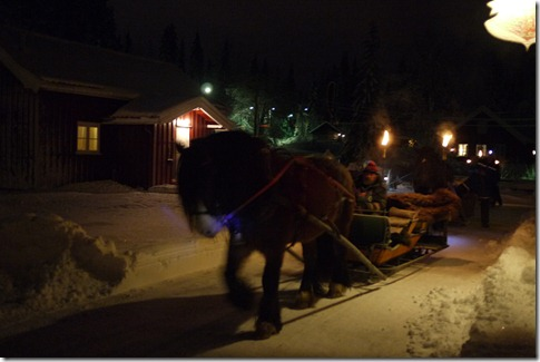 Horse drawn sleighs in Kleivstua Norway