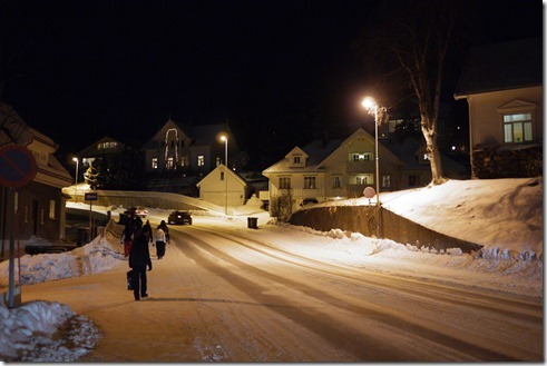 Walking through Tromso to see the Northern Lights