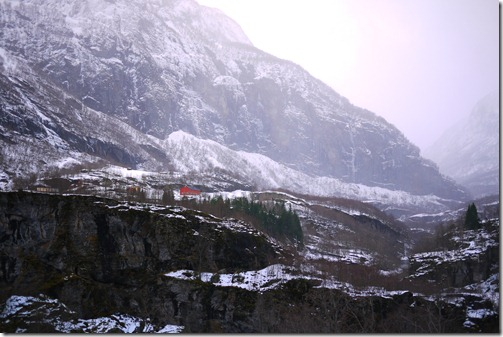 Alpine views from the train on the Flåm Railway in Norway