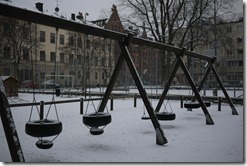 Södermalm winter playground Stockholm Sweden