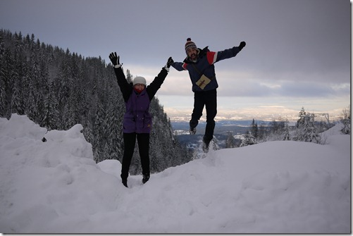 Jumping for joy in the snow - Kleivstua, Norway