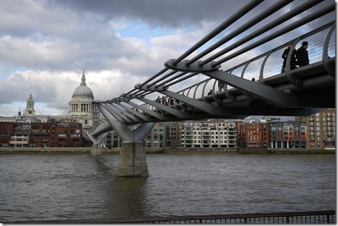 Millenium Bridge over River Thames ouside Tate Modern, London