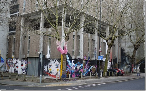 Guerilla knitting and street art in Bristol UK