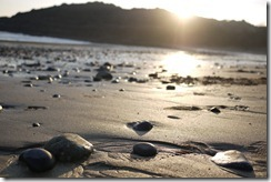 Pebble covered beach at Mumbles, Wales