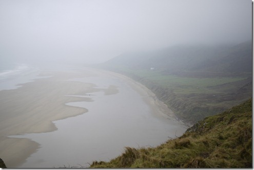Rhossili beach and bay on a foggy day, Rhossili, Wales