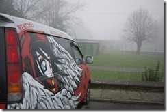 Wicked campervan as we wake to fog in Stratford-upon-Avon, UK