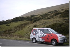 Our Wicked campervan, Panda, pulled over in Peaks District to watch paragliders