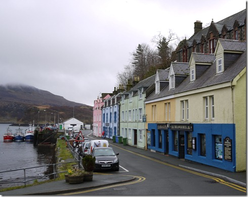 The harbour side street in Portree, all closed up for a winter weekend