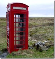 Red telephone booth amongst the sheep,  Isle of Skye, Scotland
