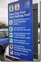 Pay and display parking at Oxford Park and Ride
