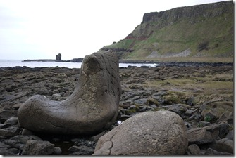 The Giant's shoes at Giant's Causeway, Causeway Coast, Northern Ireland UK