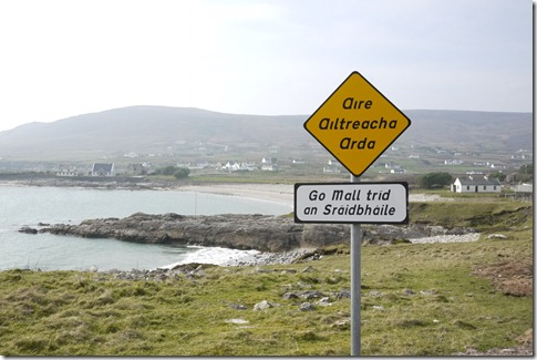 Gaelic signs The west coast of Ireland, Achill Island
