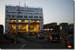 Boarding a Stenaline ferry in Rosslare, Ireland