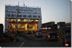 Boarding a Stenaline ferry in Rosslare, Ireland