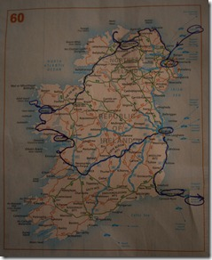 Road trip route for  Ireland