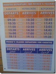 Timetable for ferry - Heybeliada  - The Princes' Islands Istanbul Turkey