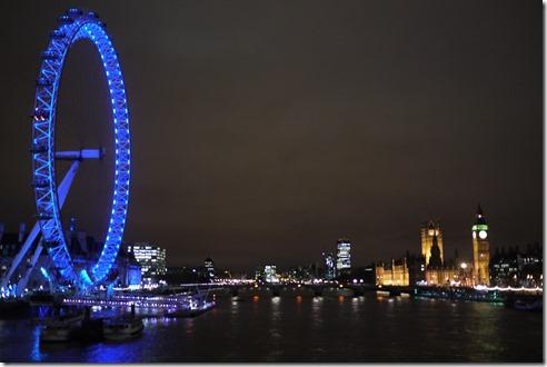 London Eye, Westminster, Big Ben and London lights, England UK