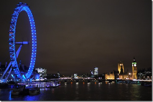 London Eye, Westminster, Big Ben and London lights, England UK