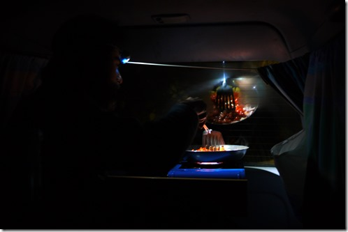 Cooking in a camper van, UK