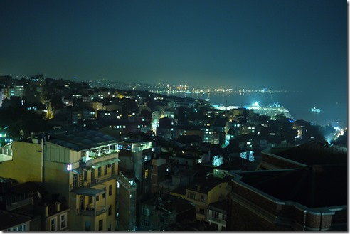 Lights over Bosphorus Straigh in Istanbul, Turkey