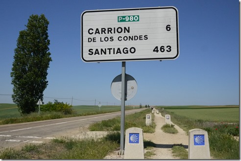 Walking to Carrion de los Condes, el Camino de Santiago, Camino Frances, Spain