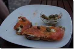 Salmon and capers,  tostatas  - tapas - Spain Andalusia