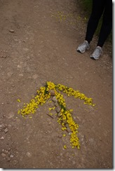 Walking Camino de Santiago from Sarria, Spain - making arrows