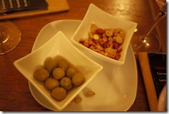 Tapas of nuts and olives, Spain food