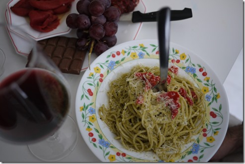 Pasta, wine, chocolate and grapes - Spain food