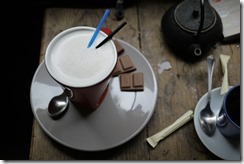 White chocolate drink, te and cafe