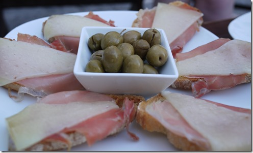 jamon tostatas and olives  - tapas - Spain