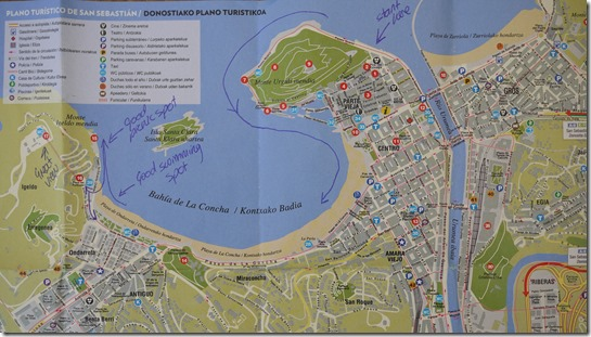 Map of San Sebastian (from Tourist Information) with notes