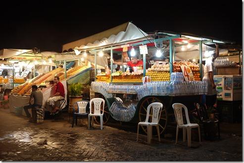 Juice stalls in Djemaa el-Fna , Marrakech Morocco