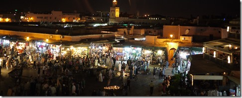 Djemaa el-Fna market by night, Marrakech Morocco