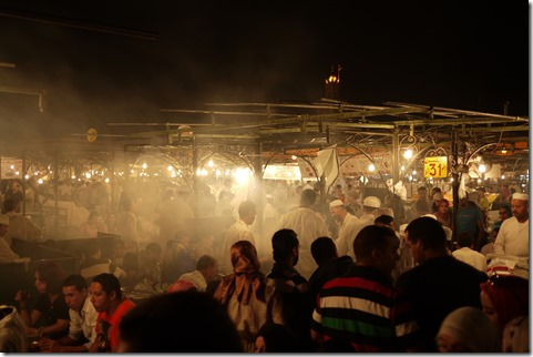 Food Market  in Djemaa el-Fna , Marrakech Morocco