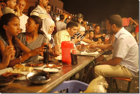 Eating in Djemaa el-Fna , Marrakech Morocco
