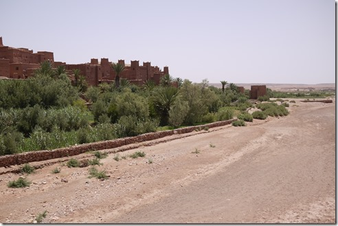 An oasis and Kazbar on the way to the Sahara Desert, Morocco