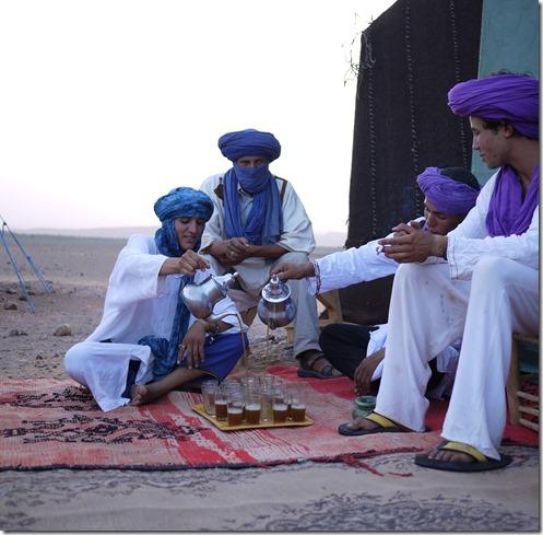 Berbers pouring tea  Sahara Desert, Morocco