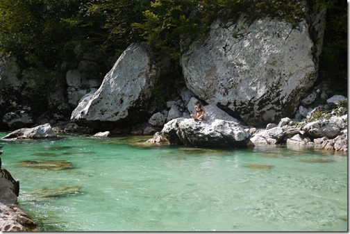 Swimming in River Soca, Triglav National Park, Bled, Slovenia