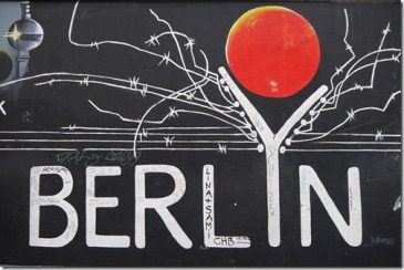 Berlin title as part of street art at East Side gallery
