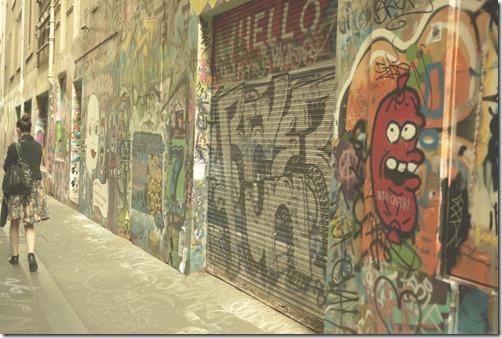 Graffiti street art in Melbourne laneway