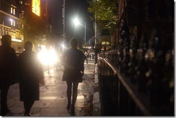 Walking at night in Melbourne CBD