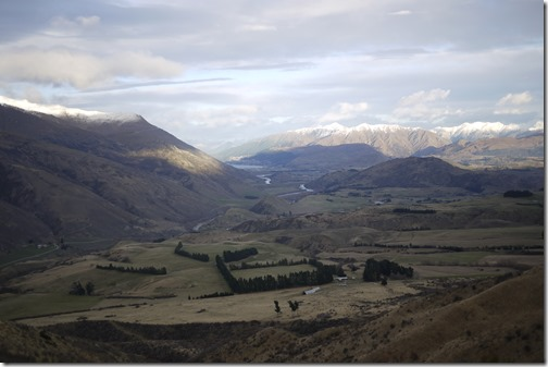 The view from Crown Range over Queenstown  New Zealand South Island