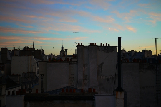 Dusk over Paris roof tops