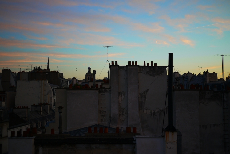 Dusk over Paris roof tops